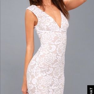 Lulu's White Lace Sleeves Bodycon Dress